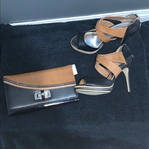🖤 Tan and Black high heels and clutch . BNWT